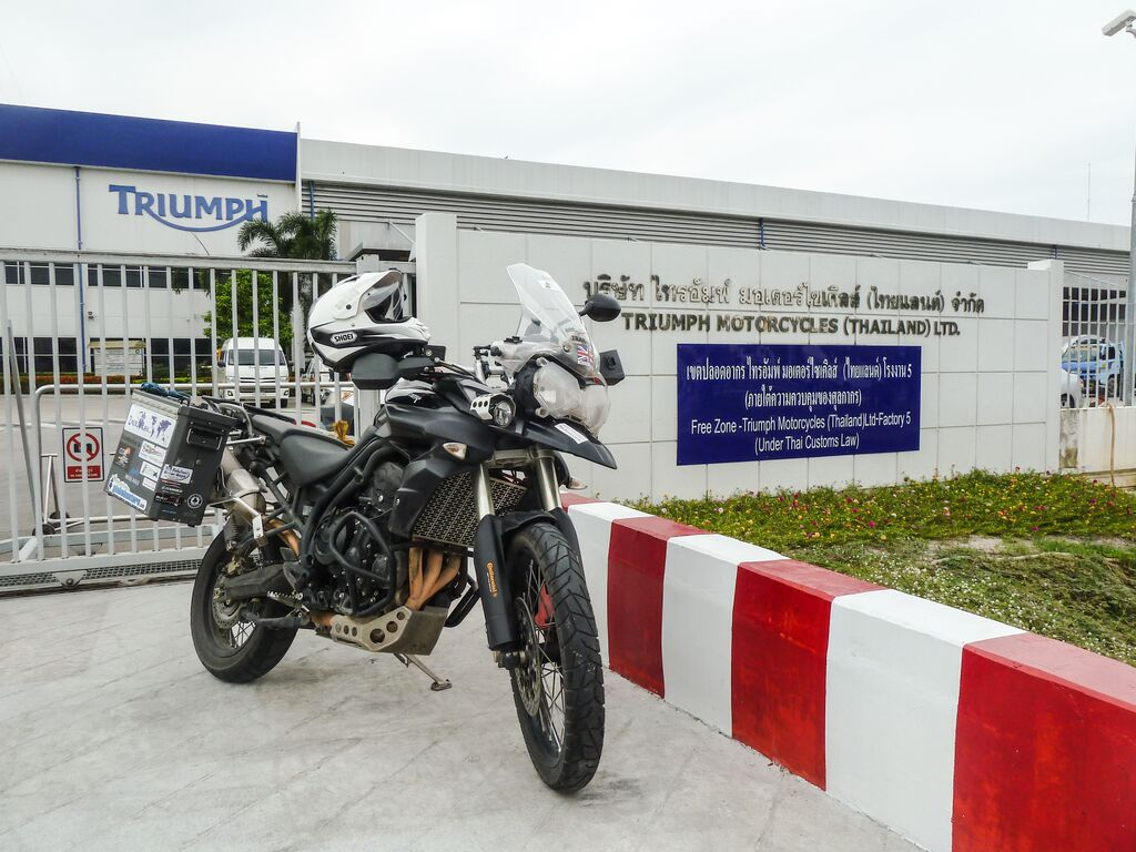Rhys Lawrey 'Tigger' outside the Thailand Triumph dealership.