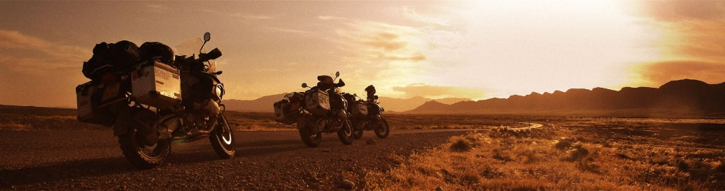 3 bikes in desert panorama